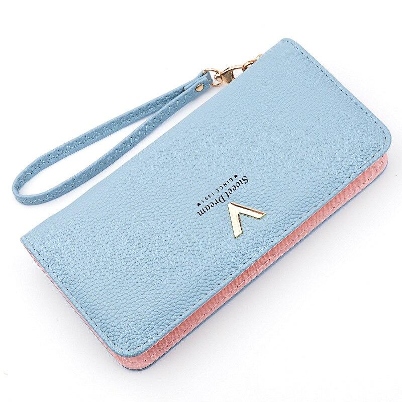 Leather Women's Wallet New Lychee Pattern Zipper Multifunction Large Capacity Purses Women Solid Color Purses Long Female Wallet