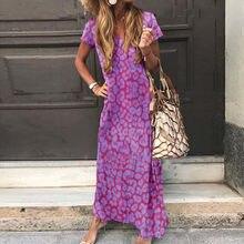 Offre Spéciale Longue Robe Femmes Décontracté Tie-dye imprimé Col En V Manches Courtes Col V Profond Robe Robes Longues Verser Women Платье @ 47