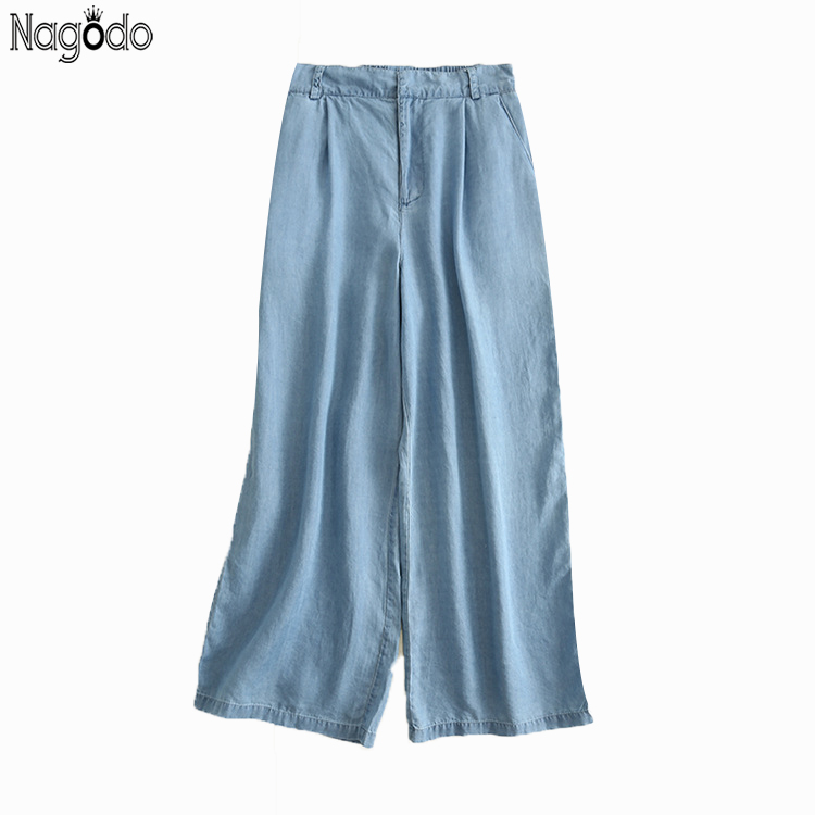 Nagodo Wide Leg Jeans 2020 New Casual Zipper Loose Jeans Woman Ankle-length Pants Trouser Elastic Ladies Jeans Femme Ropa Mujer