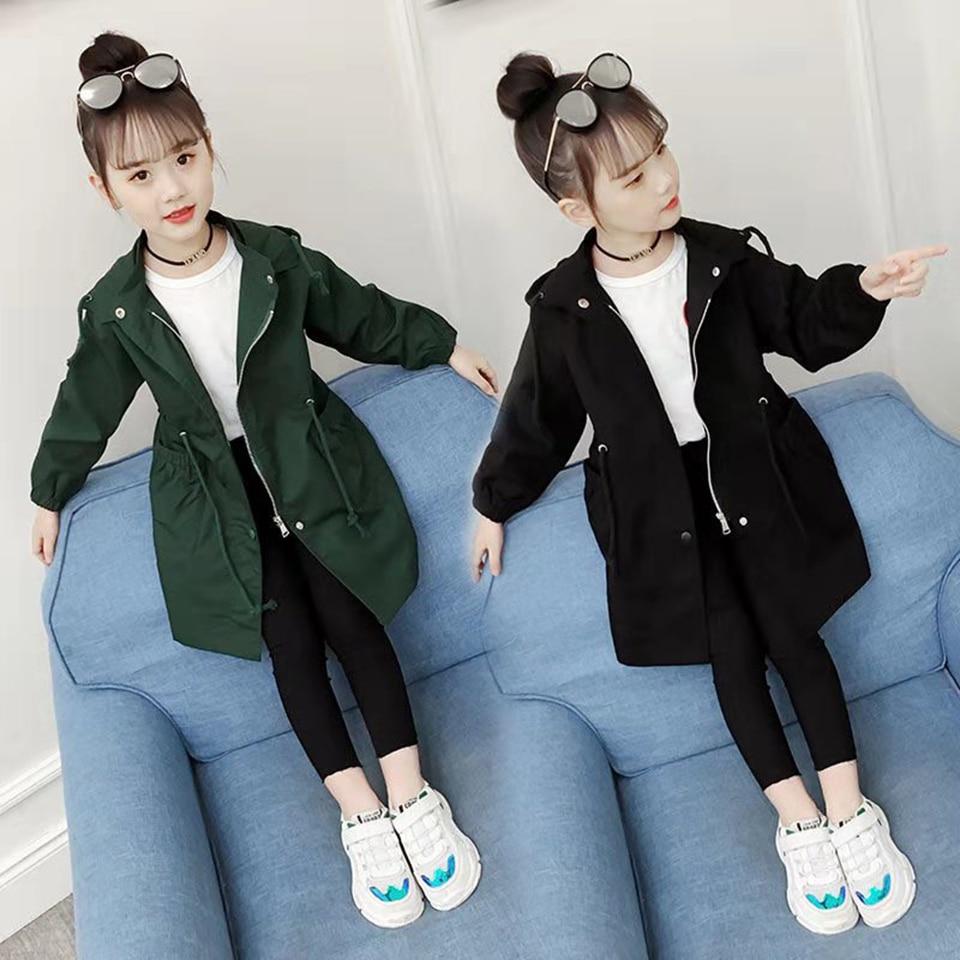 Новое пальто для девочек Детская верхняя одежда черного и зеленого цвета теплая детская одежда для девочек От 4 до 13 лет, милые весенне осенние куртки для девочек, верхняя одежда Куртки и пальто    АлиЭкспресс