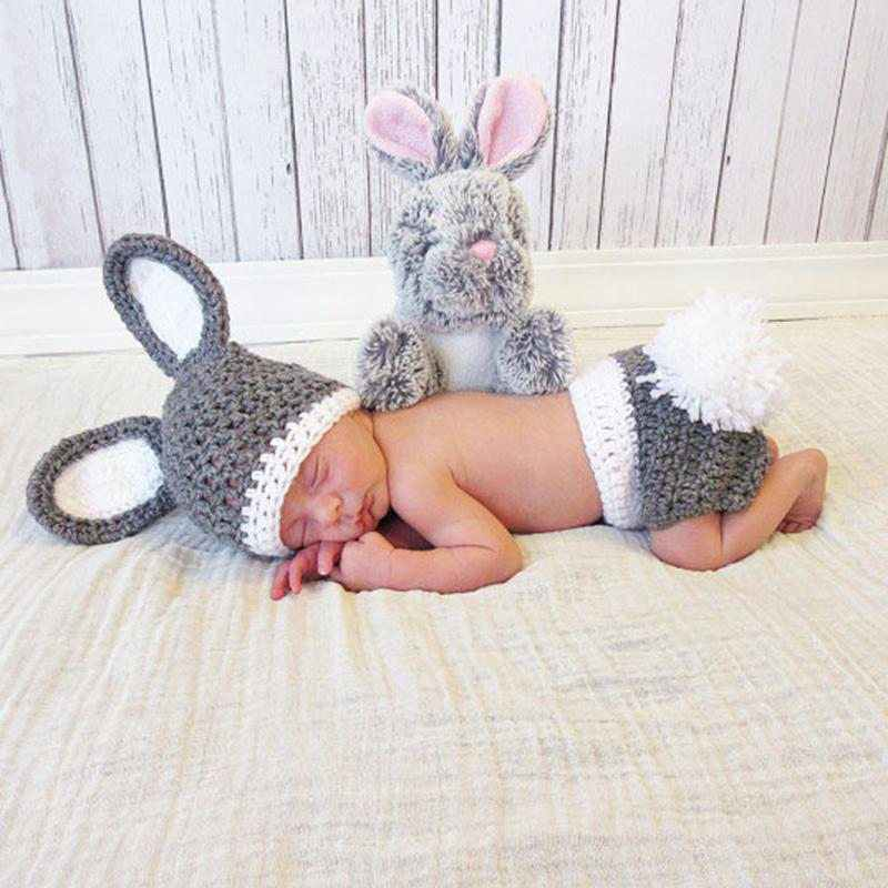 2pcs/Set Newborn Photography Props Handmade Infant Outfits Winter Baby Rabbit Shaped Crochet Knit Hat Shorts Warm Girls Clothes