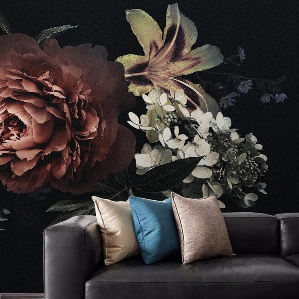Milofi custom wallpaper mural modern minimalist peony lily hand-painted flowers bedroom background wall