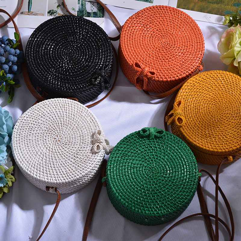 Lovevook Round Straw Bags For Women Rattan Woven Bagss For Summer Bohemia Beach Bag For Travel Crossbody Bag For Ladies 2020