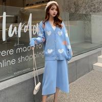 Aihuyigui Autumn Winter New Fashion Love Heart Knit Cardigan Sweater Suit Set + Loose Blue Skirt Two piece Suit 2 Piece Dr719