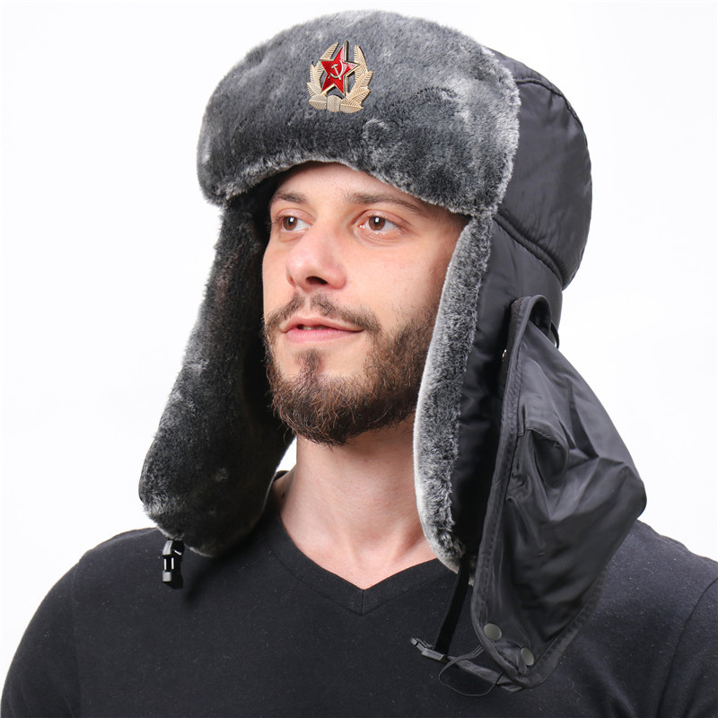 Wholesale Russian Trapper Hat Cap with Soviet Badge Faux Furs Ushanka Flaps Hat Winter Water and Wind Proof Oudoor Use AIC88
