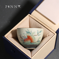 PINNY 90ML Hand Painted Fruit Tea Cup Chinese Kung Fu Porcelain Teacups Pigmented Environmentally Friendly Drinkware