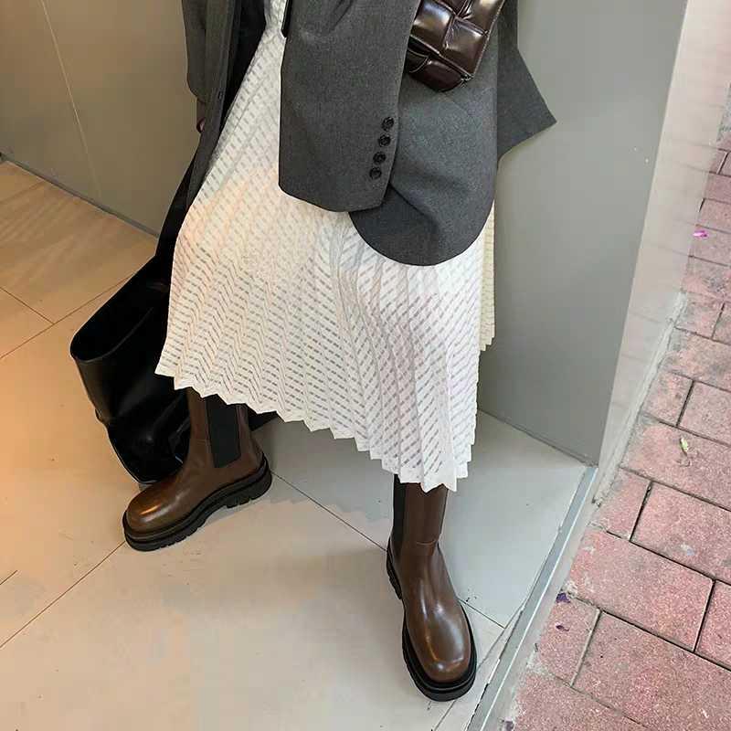 2019 חדש סגנון חום עבה תחתון צ 'לסי מגפי אישה עגול הבוהן להחליק אחת קרסול מגפי אישה מסלול אביר מגפיים אישה