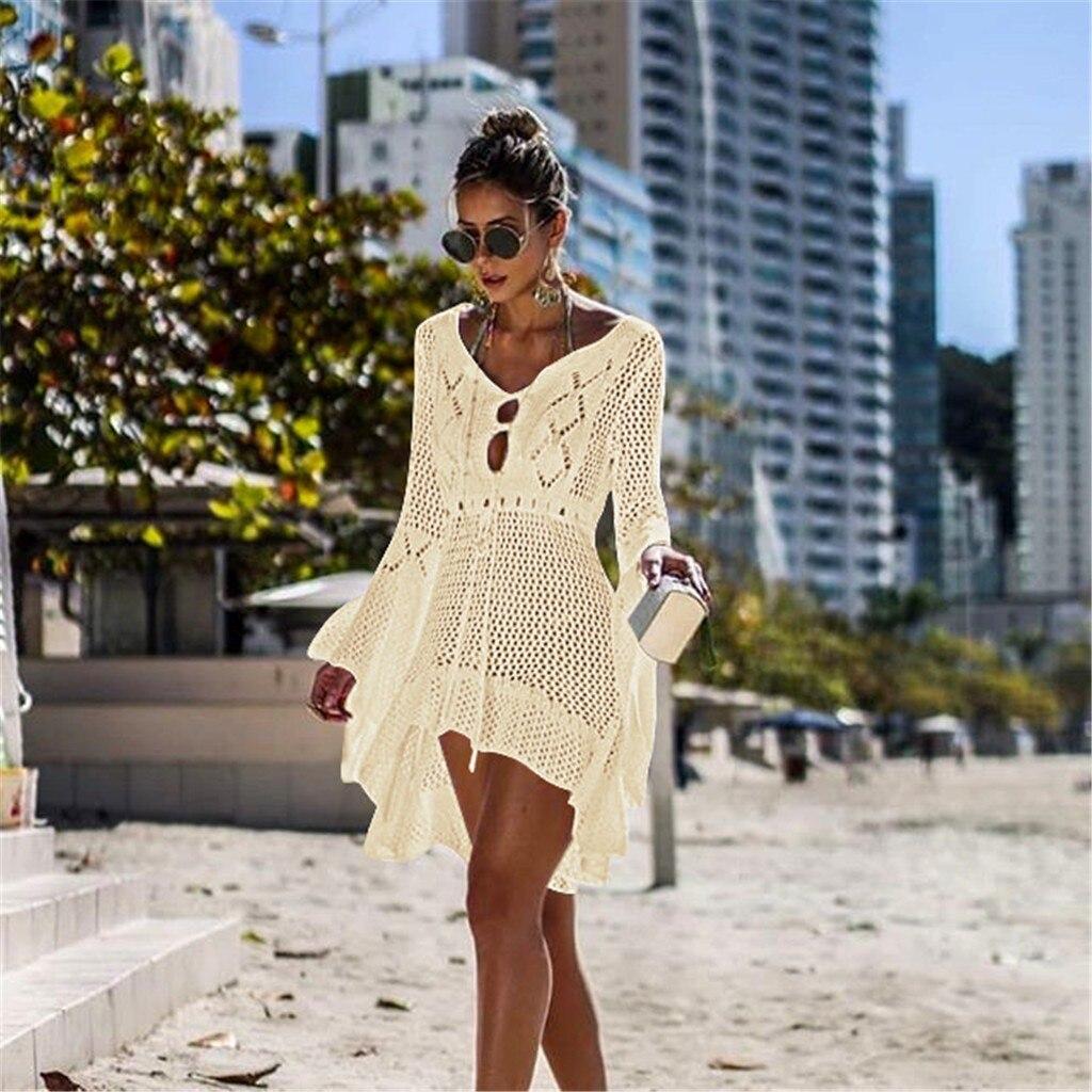 Belle plage Pop couvrir Bikini Crochet tricoté Bandage cravate maillot de bain d'été couvrir Sexy transparent robe de plage