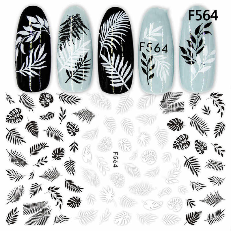 1 Buah Hitam Putih 3D Nail Art Stiker Slider Mandala Daun Geometri Perekat Stiker Kuku Foil Desain Manikur