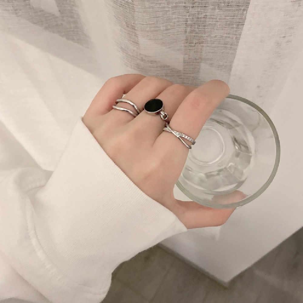 Японский и корейский темперамент из трех частей Двухслойное кольцо с бриллиантами и капающим эффектом простое Ins ветер указательный палец Ri