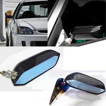 1Pair Universal CarAutos Blue Rear View Mirror F1 water stick racing Side Mirror Glass & Wide Angle Metal Bracket