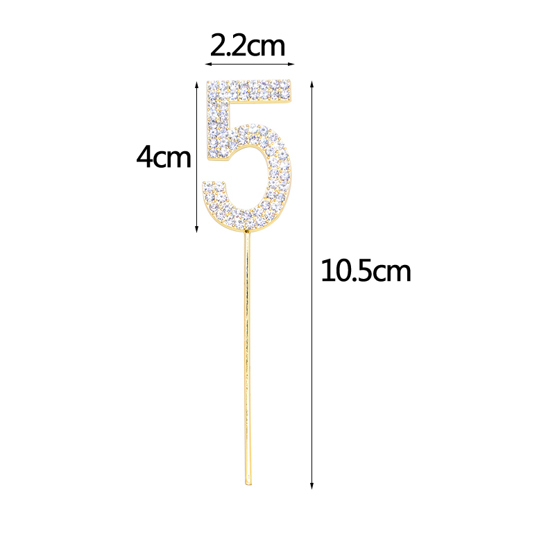 Image 5 - 1Pc Gold Silver Diamond studded Number 0 9 Rhinestone Collection Cake Topper for Birthday Party Dessert Cake Decoration Gifts-in Cake Decorating Supplies from Home & Garden