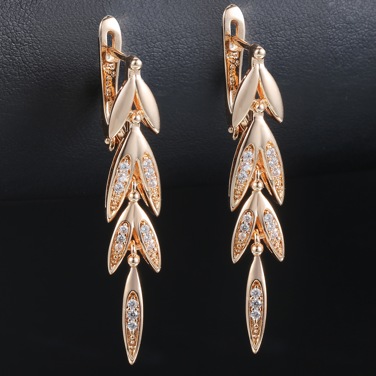 Womens Dangling Earrings Long Leaf Rose Gold Filled Snap Closure Paved Clear CZ Cubic Zirconia Earrings Jewelry Gift GE88A