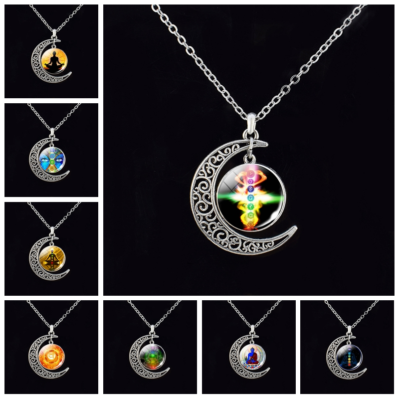 7 Chakra Pendant Yoga Meditation Necklace Vintage Handmade Crescent Moon Necklaces Buddhism Indian Jewelry Women Gifts