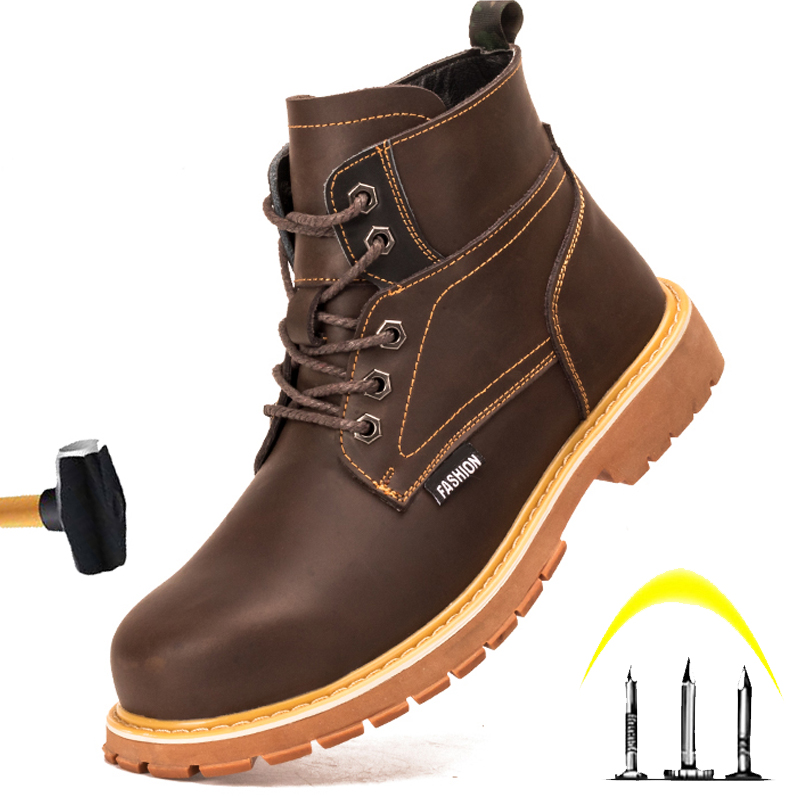 Hot Sale Large Size High-top Men's Safety Shoes 2020 Men Non-slip Wear-Resistant Martin Boots Anti-piercing Safety Protection Work Shoes