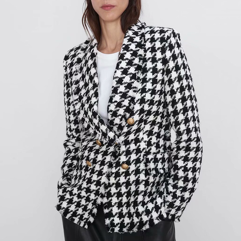 2019 Stylish Houndstooth Double Breasted Women Blazer Coat Autumn Fashion Long Sleeve Frayed Trims Outerwear Chic Plaid Tops