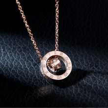 New Temperament rose gold crystal from Bulgaria titanium steel luxury necklace For Woman Wedding jewelry does not fade brand