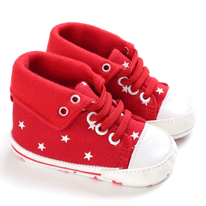 0-18M High-Top Sneakers Baby Girls Shoes Boys Casual First Walkers Foldable Star Print Canvas Infant Toddler