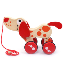 Puppy Cute Toddler Kids Game Alligator Pull Along Toy Learn Walk Developmental Twisting Early Education Wooden Baby Dragging