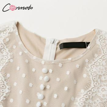 Conmoto Elegant White Mesh Party Dress Women  Autumn Winter  Short Polka Dot Lace Plus Size Dress Female Dress Vestidos 5