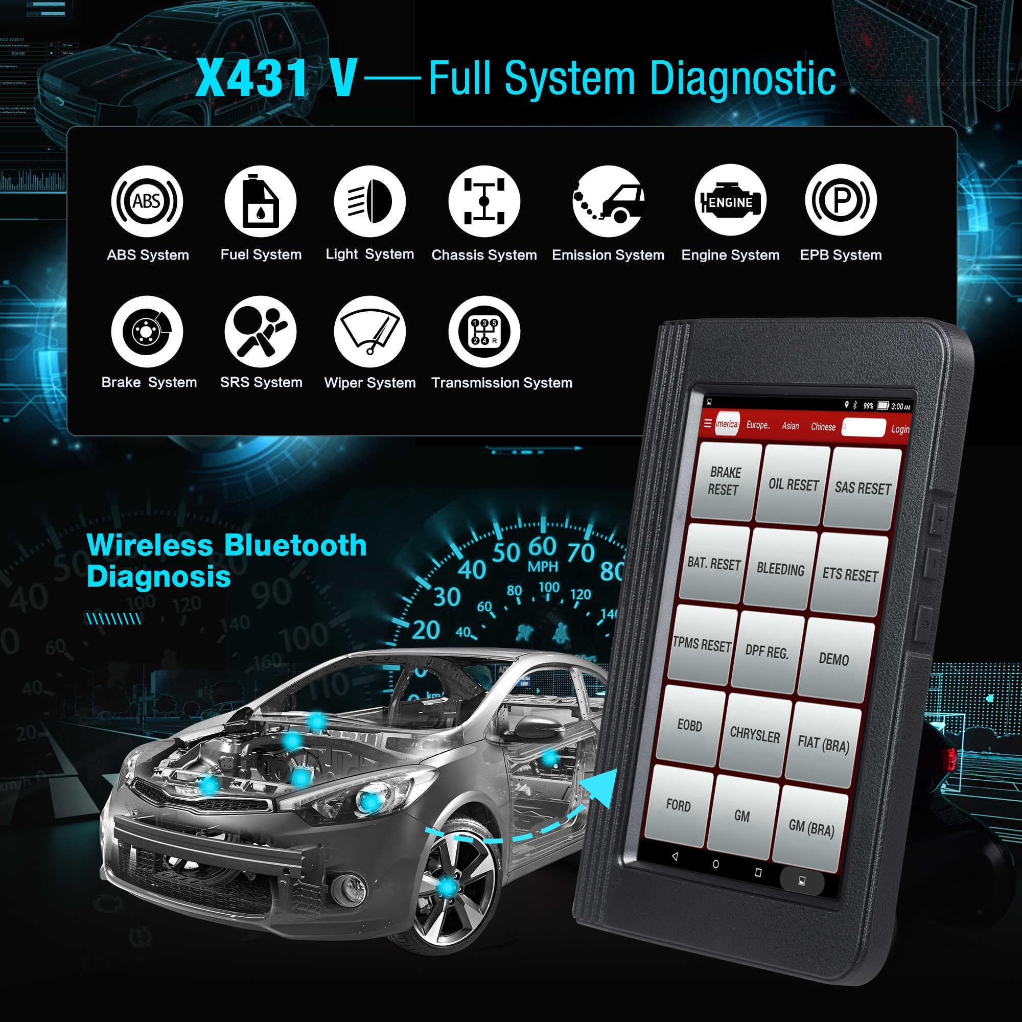 Launch X431 V Wifi/Bluetooth hệ thống đầy đủ Công cụ chẩn đoán x-431 V Pro Mini Mã hóa ECU Máy quét OBD2 cập nhật trực tuyến miễn phí 2 năm
