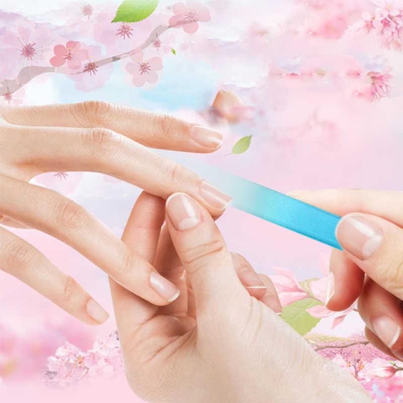 1pcs Professional 6Color Double Sides Glass Nail File Manicure Polish Sanding Nail Buffer Block Portable Durable Nail Art Tool