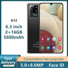 Teléfono Inteligente A12, versión Global, Pantalla Completa de 6,3 pulgadas, 2 + 16GB, 5600mAh, 5MP + 8MP, gota de agua