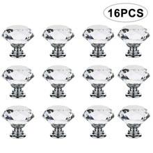 4/616 pçs/set 30mm forma de diamante design de cristal puxadores de vidro armário gaveta puxar armário cozinha porta guarda-roupa alças ferragem