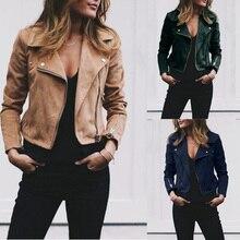 Женские нагрудные диагональ молния короткая куртка Осень Зима куртка сюрко дамы отложным воротником замши ткань Верхняя пальто плюс размер