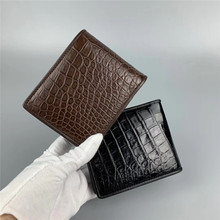 Authentic Crocodile Belly Skin Men's Short Bifold Card Walle