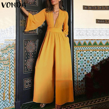 2020 VONDA Romper Womens Jumpsuit Sexy V Neck Casual Playsuit Overalls Ladies Loose Wide Leg Loose Black Playsuit Plus Size 5XL autumn new middle east popular solid color loose casual hanging neck loose wide leg large size fat mm sexy ladies dress
