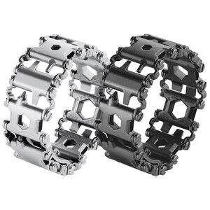 Image 5 - Pulsera de banda de rodadura multifunción EDC 29 en 1, herramienta portátil, destornillador de correa, Kit de emergencia de supervivencia al aire libre, cadena de Wtach múltiple