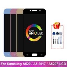 Super AMOLED дисплей для Samsung Galaxy A5 2017 A520, ЖК-дисплей, сенсорный экран, дигитайзер, запасные части для A520F, дисплей для SM-A520F