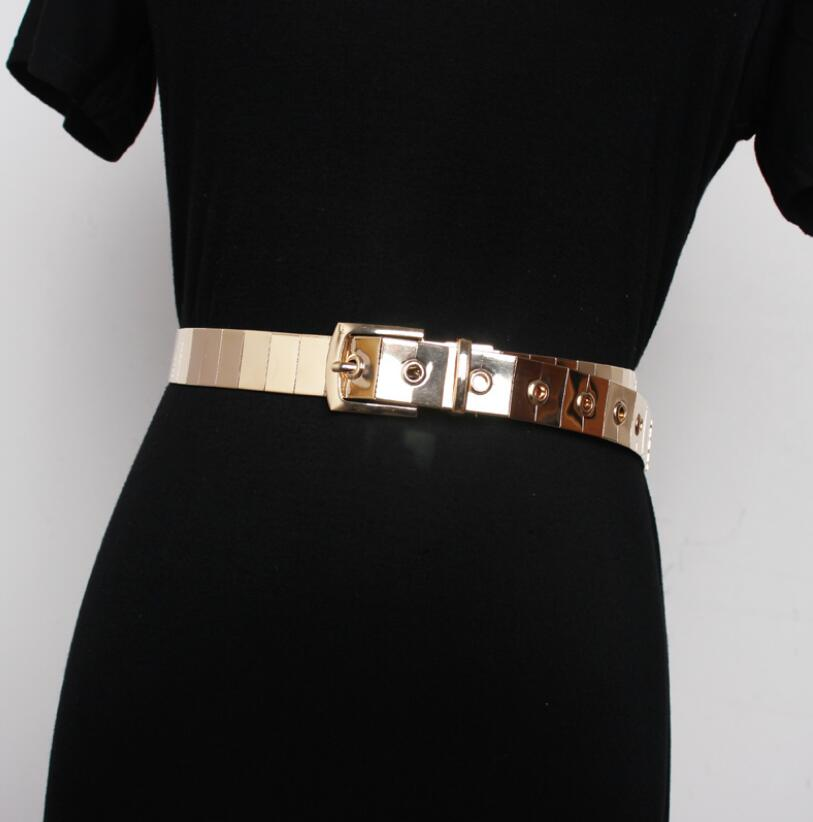 Women's Runway Fashion Metal Cummerbunds Female Dress Corsets Waistband Belts Decoration Wide Belt R2618
