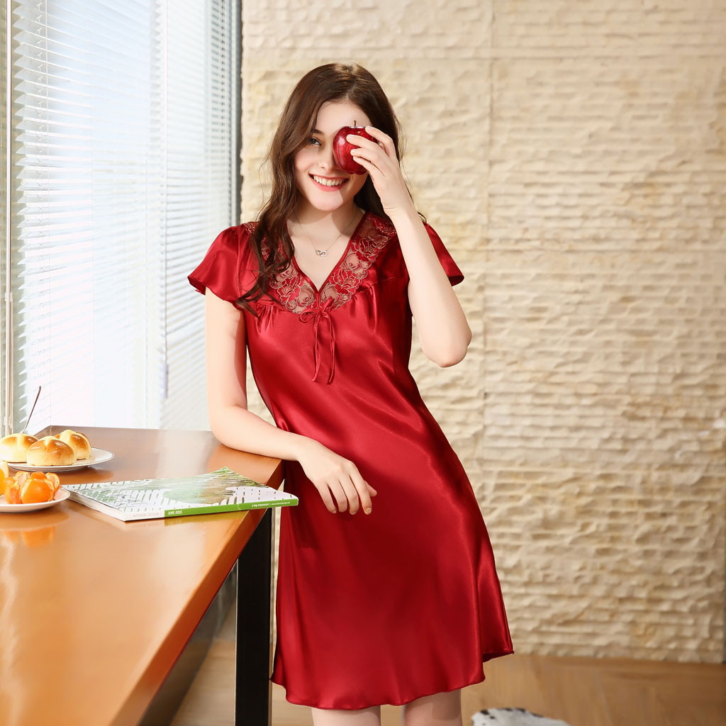 New Satin   Nightgown   Women Sweet Girl Lounge Cute Nightdress Short Sleeve Sleepwear Home Dress Casual Nightwear   Sleepshirts   *B