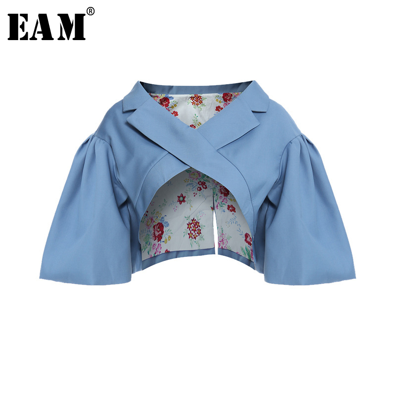 [EAM] Loose Fit Pattern Printed Irregular Short Jacket New V-collar Short Sleeve Women Coat Fashion Spring Autumn 2020 1Y7180 1