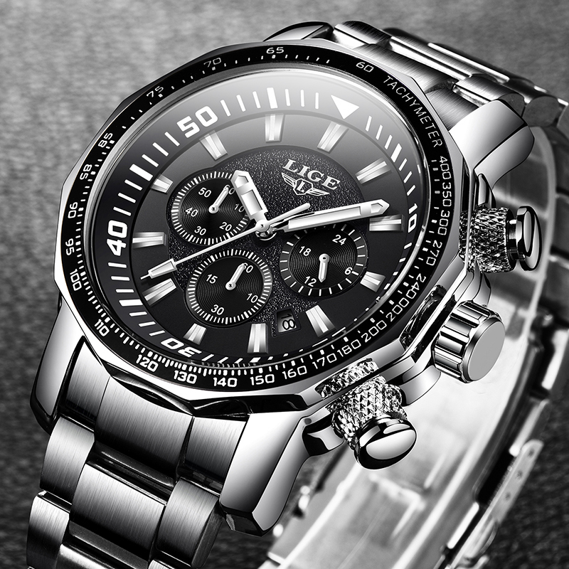 2020 LIGE Top Brand Luxury Mens Watches Full Steel Watch Male Military Sport Waterproof Watch Men Quartz Clock Relogio Masculino