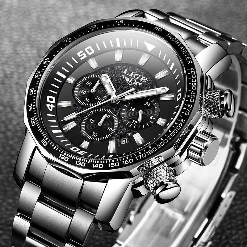 2020 LIGE Top Marke Luxus Herren Uhren Voller Stahl Uhr Männliche Militär Sport Wasserdichte Uhr Männer Quarzuhr Relogio Masculino