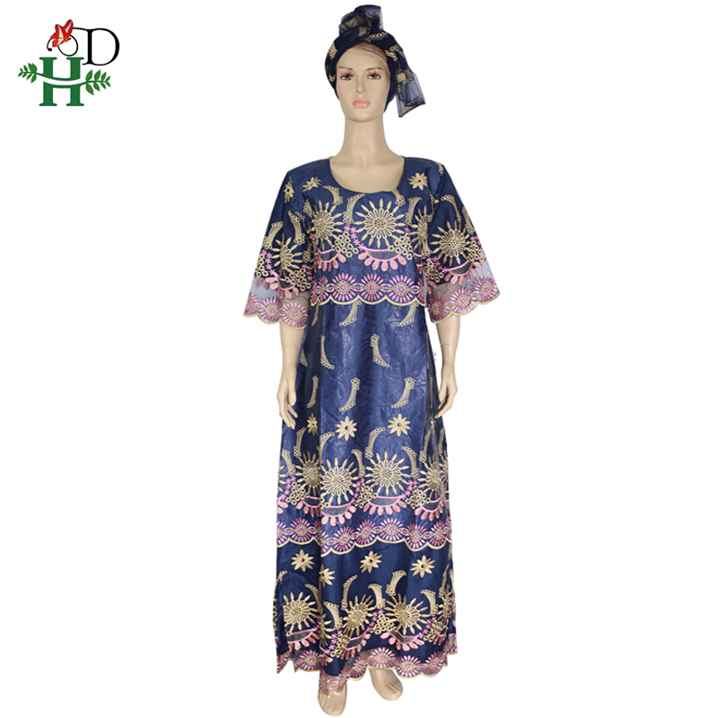 H&D Plus Size African Women Dresses Embroidery Long Dress With Headtie Dashiki Bazin Dress For Women African Traditional Clothes