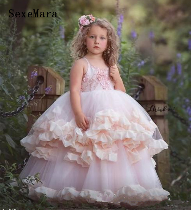 New Pink Puffy Dress for Baby Girls First Holy Communion Gown Princess Birthday Party Prom Dress for Girl 2-16yrs