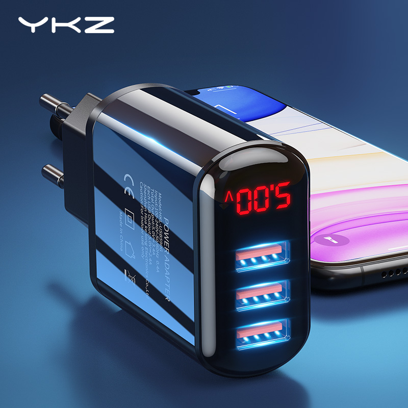 YKZ USB Charger 3 Port Led Display Fast Charge 3.4A EU Fast Wall Charger For IPhone Samsung Xiaomi Huawei Mobile Phone Charger