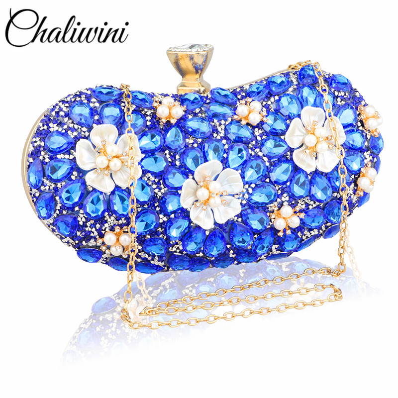 Chaliwini Vintage Women Blue Beaded Evening Clutch Bags Ladies Box Pearl Clutches Wedding Cocktail Party Handbags Purses