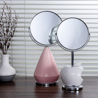 Modern Glass Rotatable Home Decor Mirror Double side Makeup for Vanity Bathroom Decoration Ceramic Table Mirror Apple Vase Stand