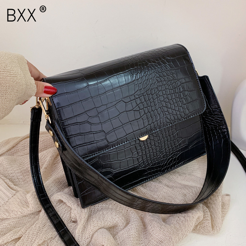 [BXX] Stone Pattern PU Leather Crossbody Bags For Women 2020 Autumn Brand Designer Shoulder Messenger Bag Female Handbags HI917