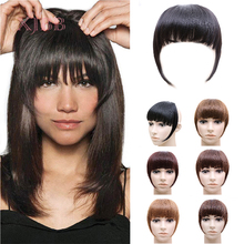 XJBB Women Fake Synthetic hair Bangs Extensions Natural Bangs Clip-In Dark Light Brown Black Synthetic False Hair Fringe