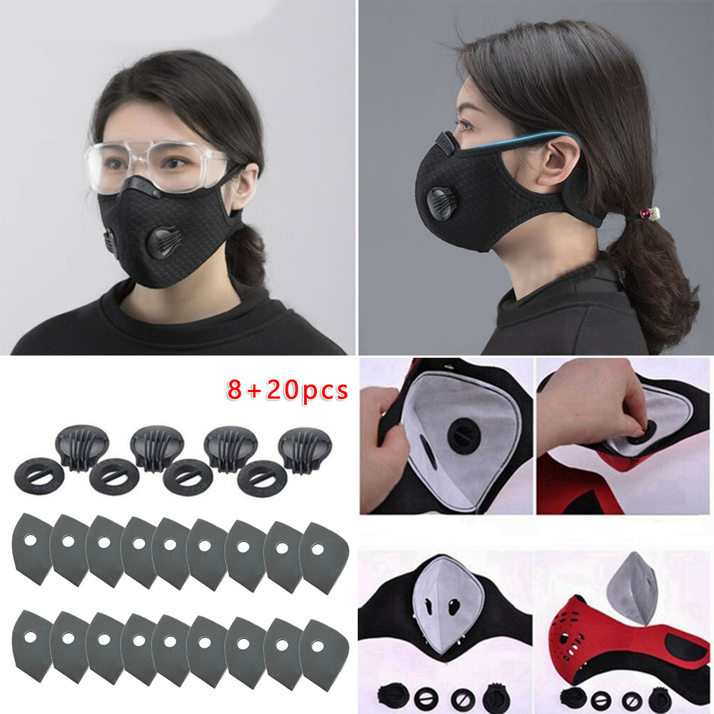 20+8PCS Non-woven Gasket Face Cover Filter Activated Carbon Breathing Filters Air Valve  Three-dimensional Sewing