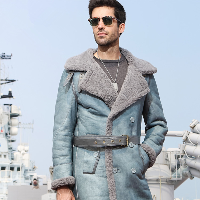 Genuine Leather Jacket Men Sheep Shearing Winter Coat Men Real Fur Coat Natural Wool Jacket For Mens Clothing Casaco 816 YY816