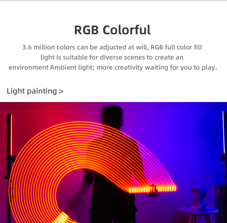 Ha5db0cee883746d28a6ed5d712b02698b Yongnuo YN360 III YN360III Handheld 3200K-5500K RGB Colorful Ice Stick LED Video Light Touch Adjusting Controlled by Phone App