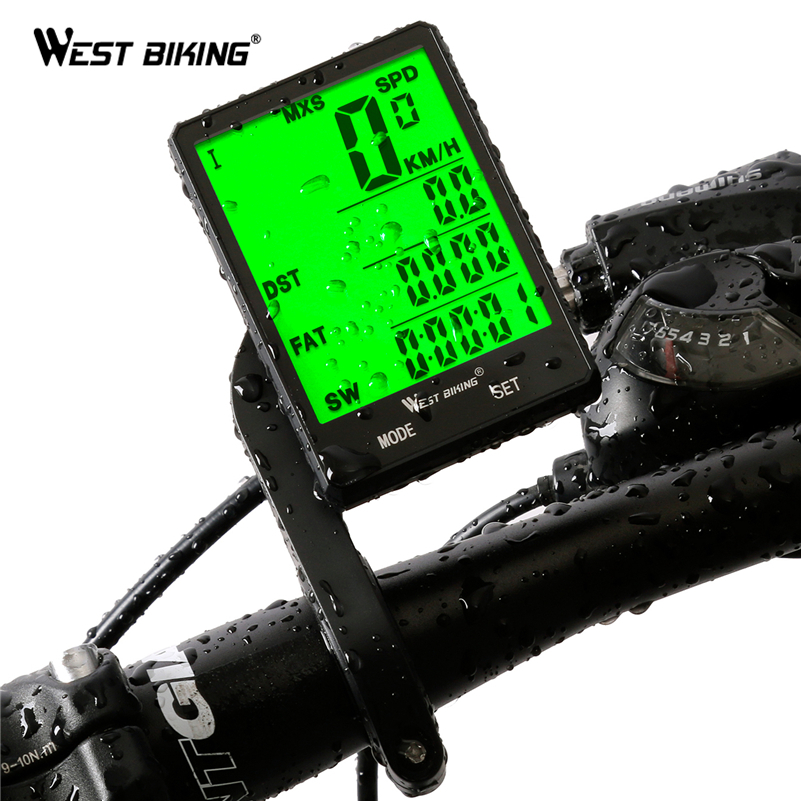 "WEST BIKING 2.8"" Large Screen Bicycle Computer Wireless Wired Bike Computer Rainproof Speedometer Odometer Stopwatch for Cycling-in Bicycle Computer from Sports & Entertainment"