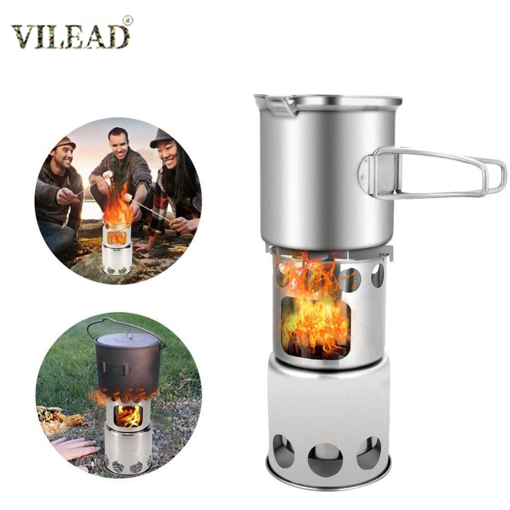 Wood stove Cookware Picnic Cooking Ultralight Outdoor Portable Detachable